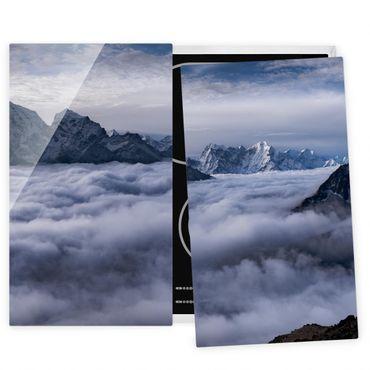 Herdabdeckplatte Glas - Wolkenmeer im Himalaya - 52x60cm