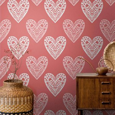 Metallic Tapete  - Herzen mit Blumenmuster in Rot
