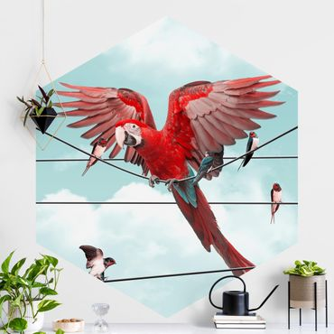 Hexagon Mustertapete selbstklebend - Himmel mit Vögeln