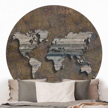 Runde Tapete selbstklebend - Holz Rost Weltkarte