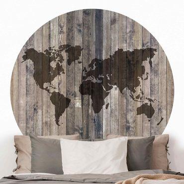 Runde Tapete selbstklebend - Holz Weltkarte
