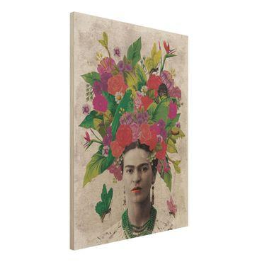 Holzbild -Frida Kahlo - Blumenportrait- Hochformat 3:4