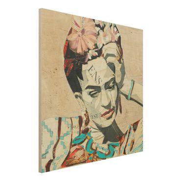 Holzbild -Frida Kahlo - Collage No.1- Quadrat 1:1