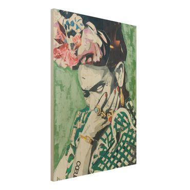 Holzbild -Frida Kahlo - Collage No.3- Hochformat 3:4