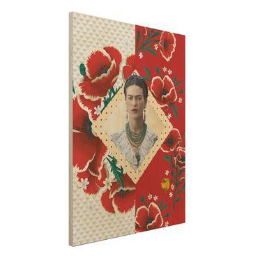 Holzbild -Frida Kahlo - Mohnblüten- Hochformat 3:4
