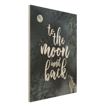 Holzbild -Love you to the moon and back- Hochformat 3:4
