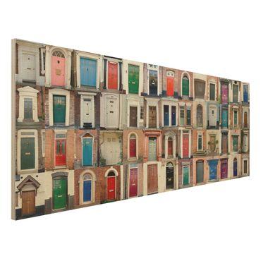 Holzbild - 100 Türen - Panorama Quer