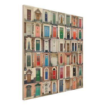 Holzbild - 100 Türen - Quadrat 1:1