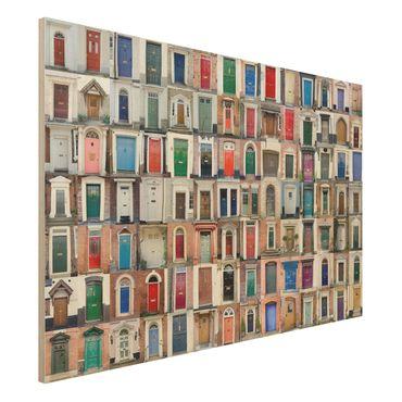 Holzbild - 100 Türen - Quer 3:2