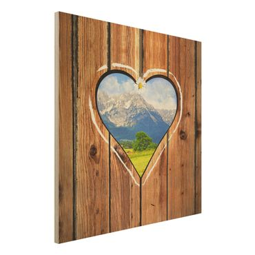 Wandbild aus Holz - Almhütten - Quadrat 1:1