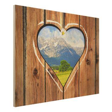 Wandbild aus Holz - Almhütten - Quer 4:3