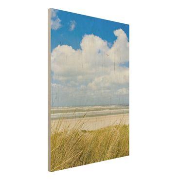 Holzbild Strand - An der Nordseeküste - Hoch 3:4