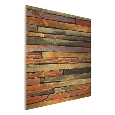 Holzbild - Bretterstapel - Quadrat 1:1