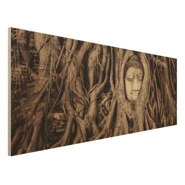 Holzbild - Buddha in Ayutthaya von Baumwurzeln gesäumt in Braun - Panorama Quer