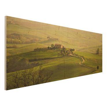 Holzbild - Chianti Toskana - Panorama Quer