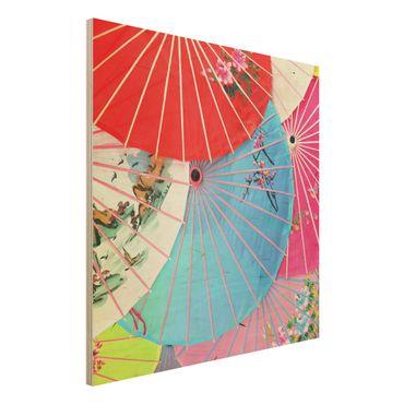 Holzbild - Chinese Parasols - Quadrat 1:1
