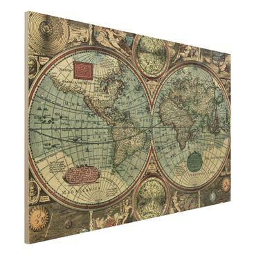 Holzbild Weltkarte - Die alte Welt - Quer 3:2