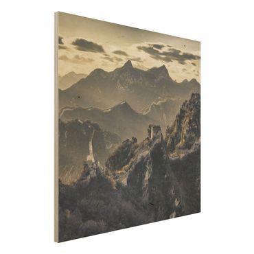 Holz Wandbild - Die große chinesische Mauer - Quadrat 1:1