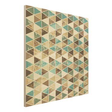 Wandbild Holz - Dreieck Rapportmuster - Quadrat 1:1