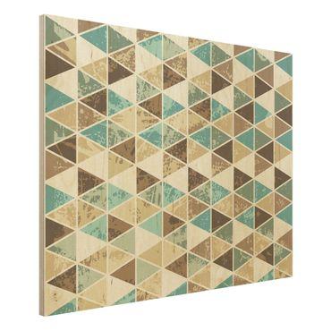 Wandbild Holz - Dreieck Rapportmuster - Quer 4:3