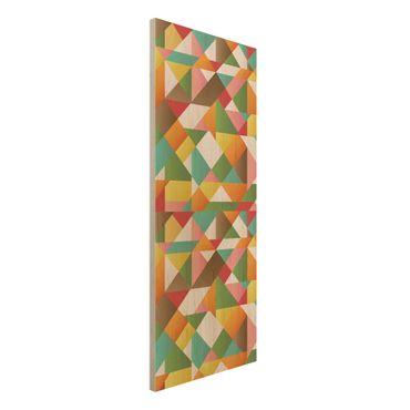 Wandbild Holz - Dreiecke Musterdesign - Panorama Hoch