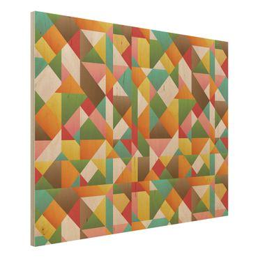 Wandbild Holz - Dreiecke Musterdesign - Quer 4:3