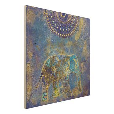Holzbild - Elephant in Marrakech - Quadrat 1:1