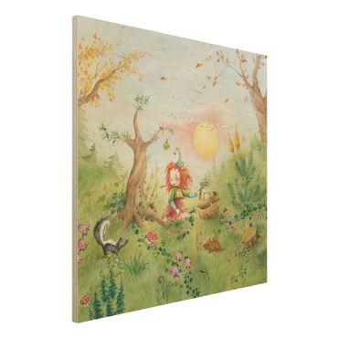 Holzbild - Frida sammelt Kräuter - Quadrat 1:1