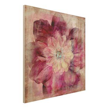 Holzbild - Grunge Flower - Quadrat 1:1