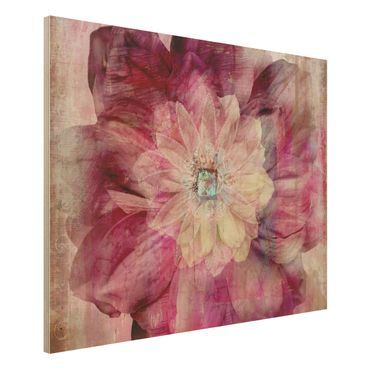 Holzbild - Grunge Flower - Quer 4:3