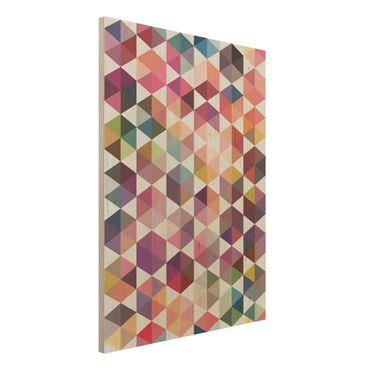 Wandbild Holz - Hexagon Facetten - Hoch 3:4