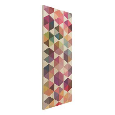 Wandbild Holz - Hexagon Facetten - Panorama Hoch