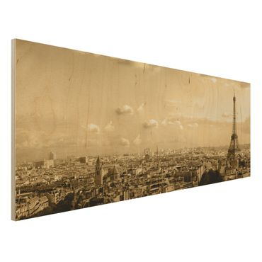 Holzbild - I Love Paris - Panorama Quer