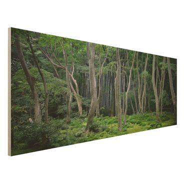 Holzbild - Japanischer Wald - Panorama Quer