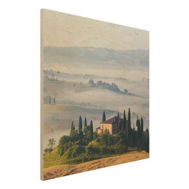 Holzbild - Landgut in der Toskana - Quadrat 1:1