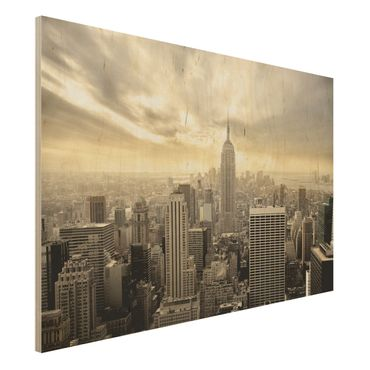 New York Holzbild - Manhattan Dawn - Quer 3:2