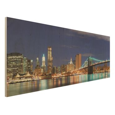 Holzbild - Manhattan in New York City - Panorama Quer