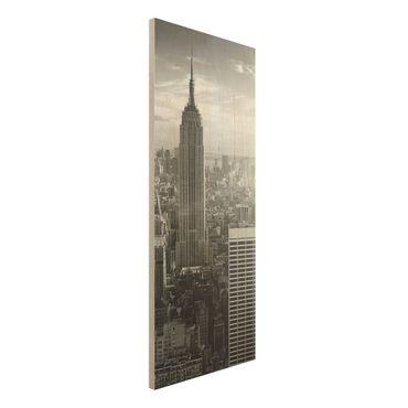 Bild aus Holz - Manhattan Skyline - Panorama Hoch