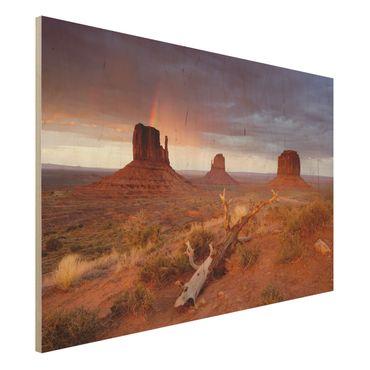 Wandbild aus Holz - Monument Valley bei Sonnenuntergang - Quer 3:2