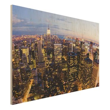 Holzbild - New York Skyline bei Nacht - Quer 3:2