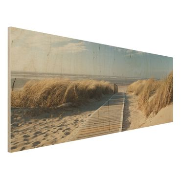 Holzbild - Ostsee Strand - Panorama Quer