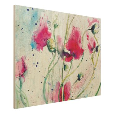 Holzbild - Painted Poppies - Quer 4:3