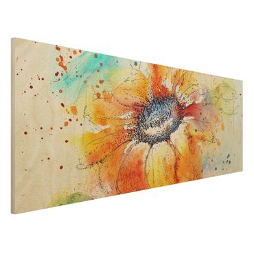 Holzbild - Painted Sunflower - Panorama Quer