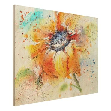 Holzbild - Painted Sunflower - Quer 4:3