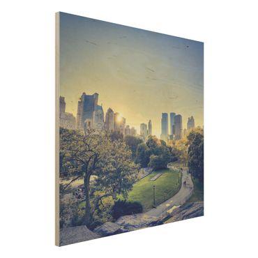 Holz Wandbild - Peaceful Central Park - Quadrat 1:1