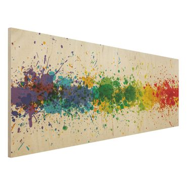 Holzbild - Rainbow Splatter - Panorama Quer