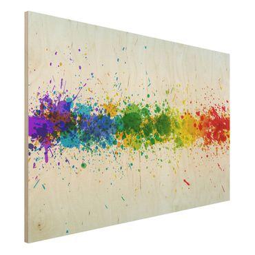 Holzbild - Rainbow Splatter - Quer 3:2