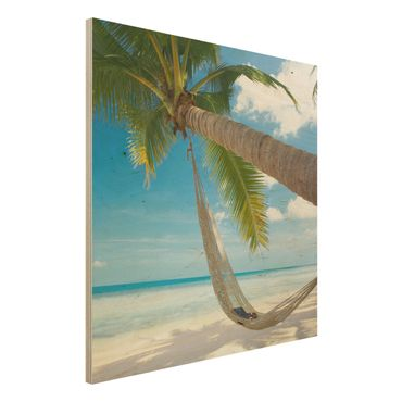 Holzbild Strand - Relaxing Day - Quadrat 1:1