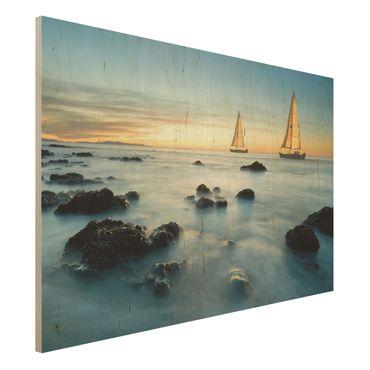 Holzbild Meer - Segelschiffe im Ozean - Quer 3:2