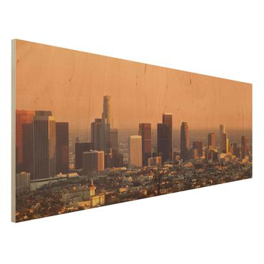 Holzbild - Skyline of Los Angeles - Panorama Quer